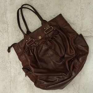 Francesco Biasia chocolate satchel hobo bag